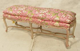 French Style Carved Long Bench.  Floral Upholster