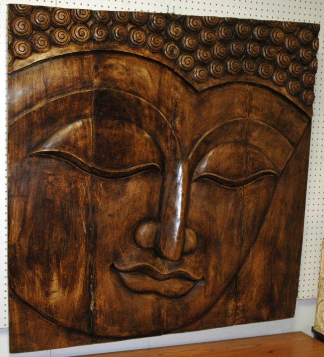 Large Buddha Panel: Large Decorator Carved Wood Panel Buddha Face. Th : Lot 582