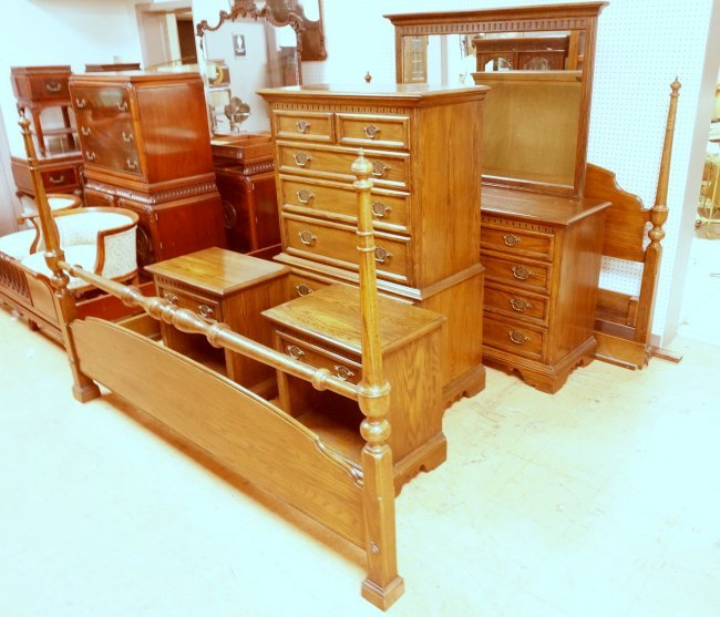 7pc ETHAN ALLEN Oak Bedroom Set Tall Low Chest Lot 139