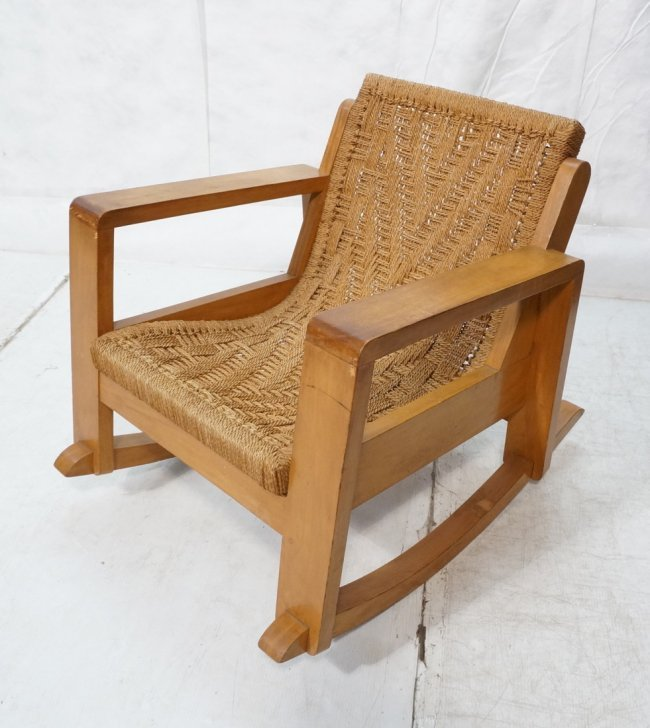 Early knoll assoc inc rocker rocking chair woven lot 503 - Knoll rocking chair ...