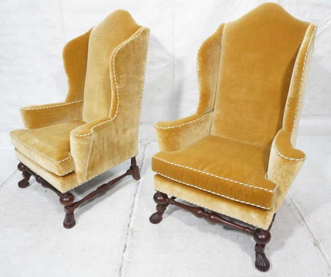 Pr Baker Furniture Gold Velvet Wing Chairs Gold Lot 61