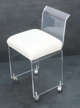 Lucite Rolling Vanity Stool Seat With Back White Lot 461