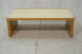 Low Modernist Parchment Lacquered & Wood Coffee T