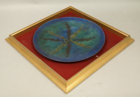 Large Enamel Plate Charger. Framed In Shadow Box.