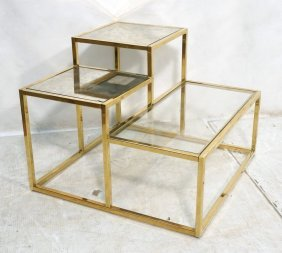 Staggered Height Brass Frame End Table. Thin Squa