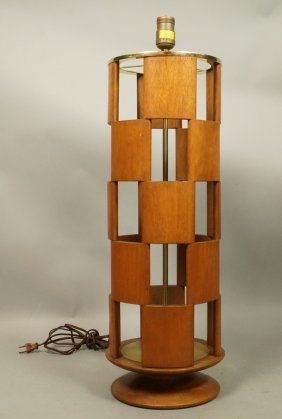 Column Form Teak Table Lamp. Walnut Panels In Che