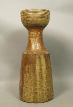 Large B Mitchell Brown Glazed Pottery Vase. Stone