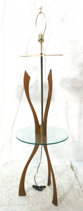 Modern Wood Glass Table Floor Lamp. Brass Accents