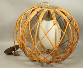 Modernist Large Rattan Sphere Hanging Light Fixtu