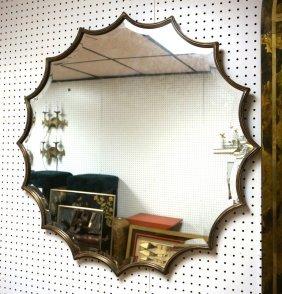 Decorator Wall Mirror. Pie Crust Wood Frame. Beve