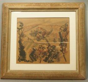 William Barnett Charcoal Crayon Drawing. Landscap