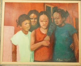 Andrew Turner Oil Painting. Portrait Of 4 Young G
