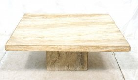 Large Square Travertine Coffee Cocktail Table. Sq