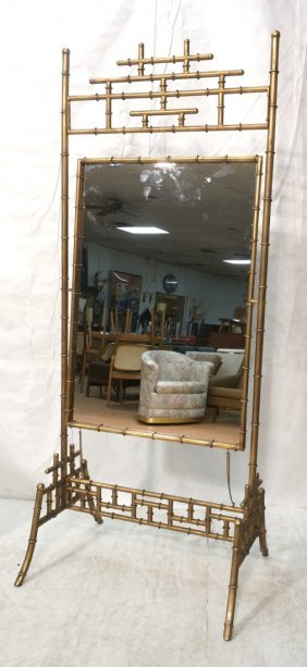 Asian Style Faux Bamboo Gilt Metal Cheval Mirror.