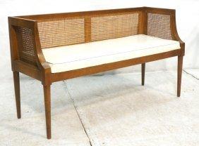 Regency Style Caned & Wood Bench. White Vinyl Sea