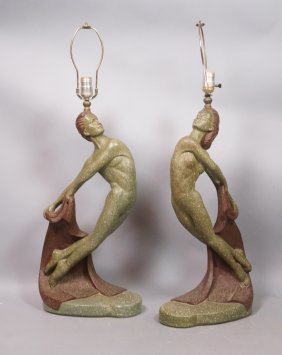 Pr Painted Plaster Art Deco Dancer Table Lamps. V