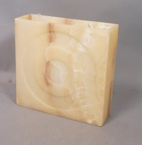 Square Alabaster Light Fixture With Concentric Ci