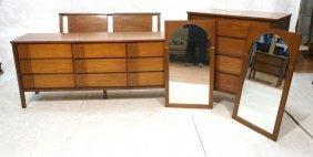 American Modern Walnut Bedroom Set. Tall Chest,