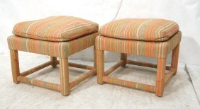 Pair Parsons Style Bench Ottomans. Striped Uphol