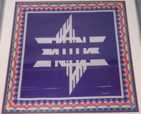 Yaacov Agam Framed Print On Silk. Marked In Prin
