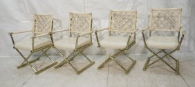 Set 4 Metal Faux Bamboo Dining Chairs. All With A