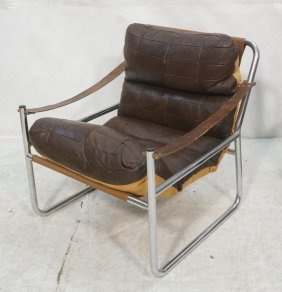 Chrome Patchwork Leather Lounge Chair. Dark Brow