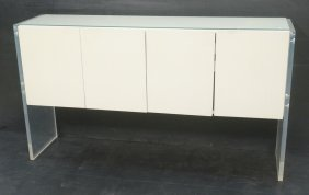 Milo Baughman Sideboard Credenza With Thick Lucit