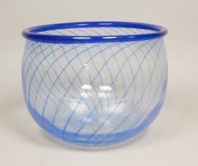 Signed Art Glass Kosta Boda Bowl. Clear With Blu