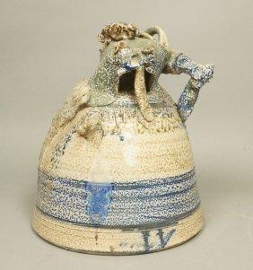 Signed Large Pottery Bell Shaped Vessel. Sculptur