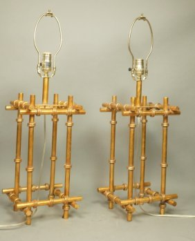 Pr Gilt Metal Faux Bamboo Table Lamps.