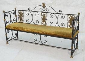 Oscar Bach Attribution Iron Bench. Long Bench Wit
