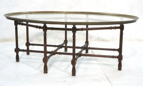 Metal Faux Bamboo Coffee Cocktail Table. Brass &