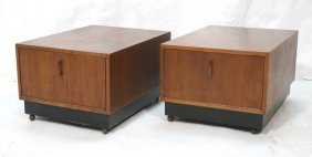 Pr Rolling Drop Front Side Tables. American Moder