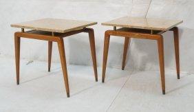 Pr Robsjohn Gibbings Marble Top Side Tables. Amer