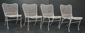 Set 4 Russell Woodard Outdoor Patio Chairs. White