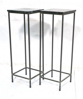 Pr Marble Top Decorator Iron Side Table Pedestal.