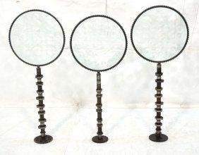 Set Three Industrial Magiscope Glass Sculptures.
