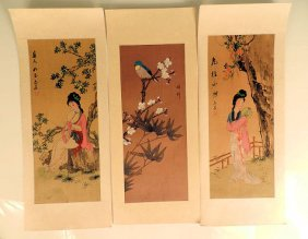 Six Chinese Watercolours On Silk