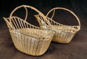 Pair Of Silver Plated Wine Bottle Baskets