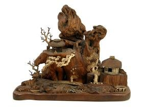 WOOD SCULPTURE OF ASIAN VILLAGE SCENE, WITH BONE CARVED