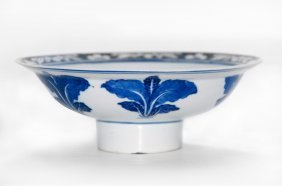Blue And White Porcelain Footed Bowl