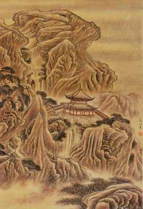 Mountainous Landscape Scroll Painting