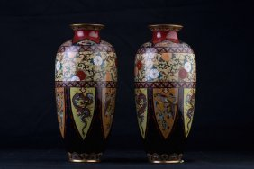 Pair Of Japanese Enamel Vases
