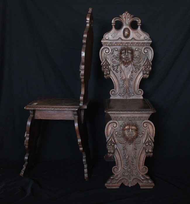 Carved wooden chairs lot 422 for Carved wooden chaise