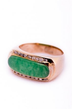 Jadeite And Gold Clear Stone Ring