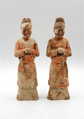 Pair Of Han Dynasty Ceramic Figurines
