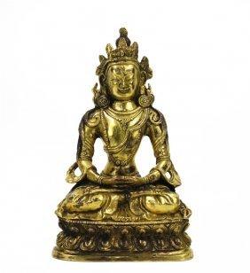 Gilt Manjusri Buddha Statue