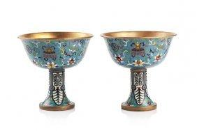 A Pair Of Cloisonne Enamel Wine Cups