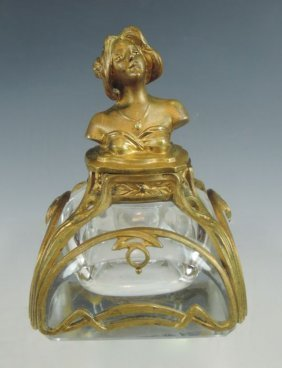 French Art Nouveau Figural Inkwell