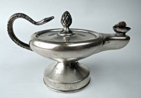 English Sterling Silver Aladdin Lamp Cigar Lighter